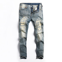купить Japanese Style Fashion Men Jeans Retro Wash Destroyed Ripped Jeans For Men Patchwork Designer DSEL Brand Hip Hop Jeans Homme по цене 1197.76 рублей