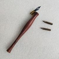 Handmade Solid Wood Oblique Calligraphy Copperplate Script Antique Dip Pen Set with 1 Pen Holder 3 Nibs Dip Pens