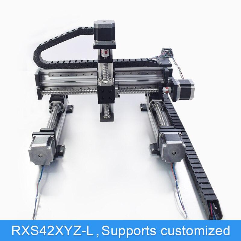 XYZ Automático Módulo Robô de Pórtico CNC Linear Guia Trilho Deslizante Atuador De Movimento Bancada Braço Robótico do Parafuso da Esfera Do Eixo Z 100mm