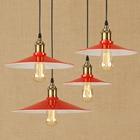 Nordic industrial pendant lamp dia 22 26 30 36 cm red color iron lampshade retro droplight fixture for Restaurant balcony aisle