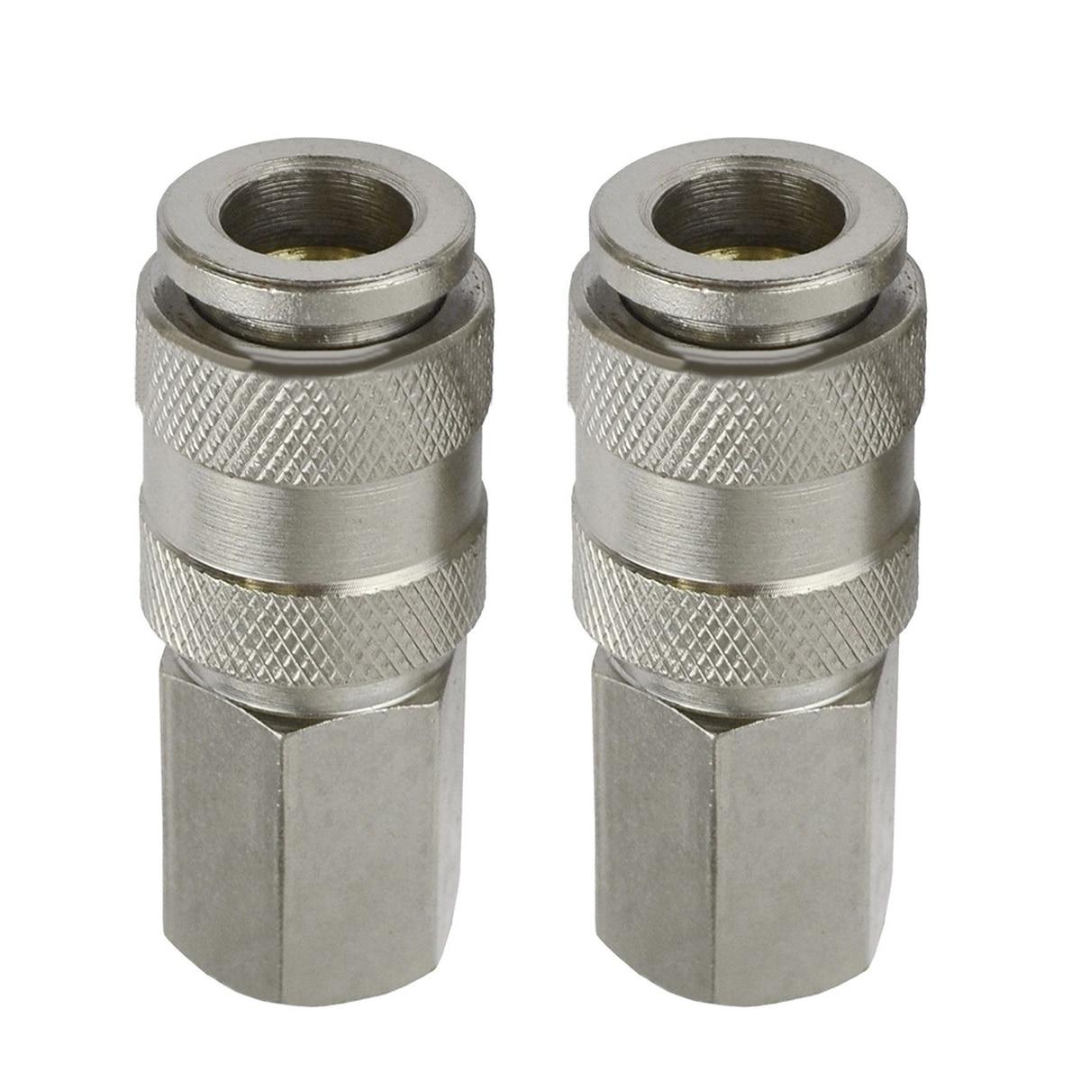 2pcs 1/4 BSP Euro Compressor Female Connectors Quick Release Air Line Hose  Connector Fitting