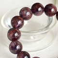 Natural Genuine Purple Red Crystal Auralite Super-23 Finish Stretch Men Bracelet Round Big Beads 14mm 04323