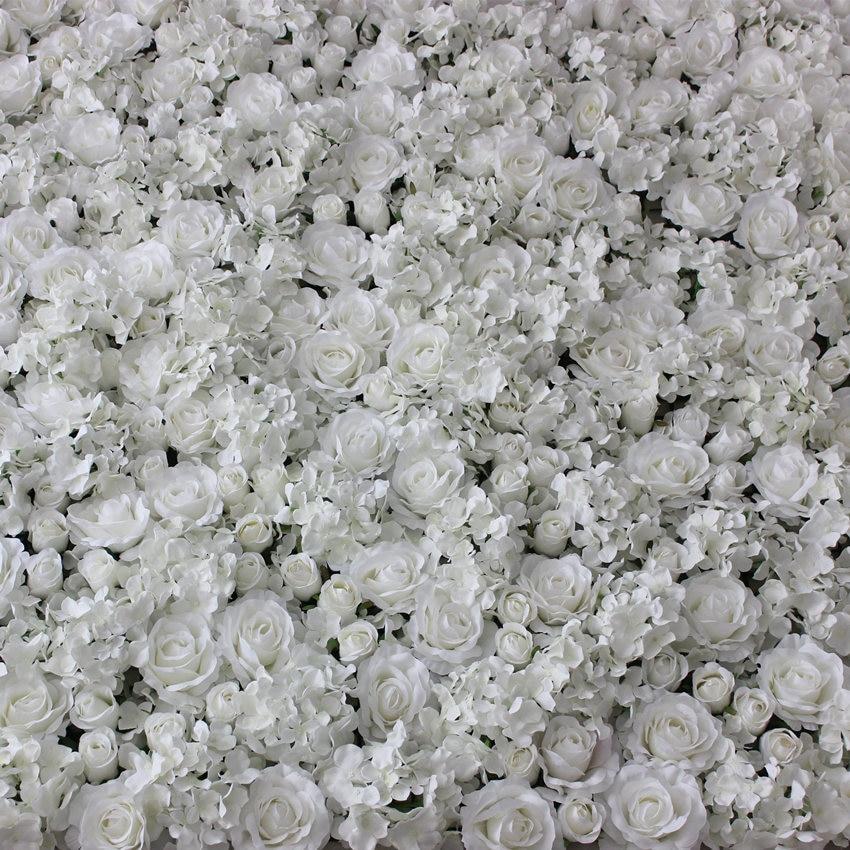 White Artificial Flower Wall For Wedding Decoration Silk Hydrangea