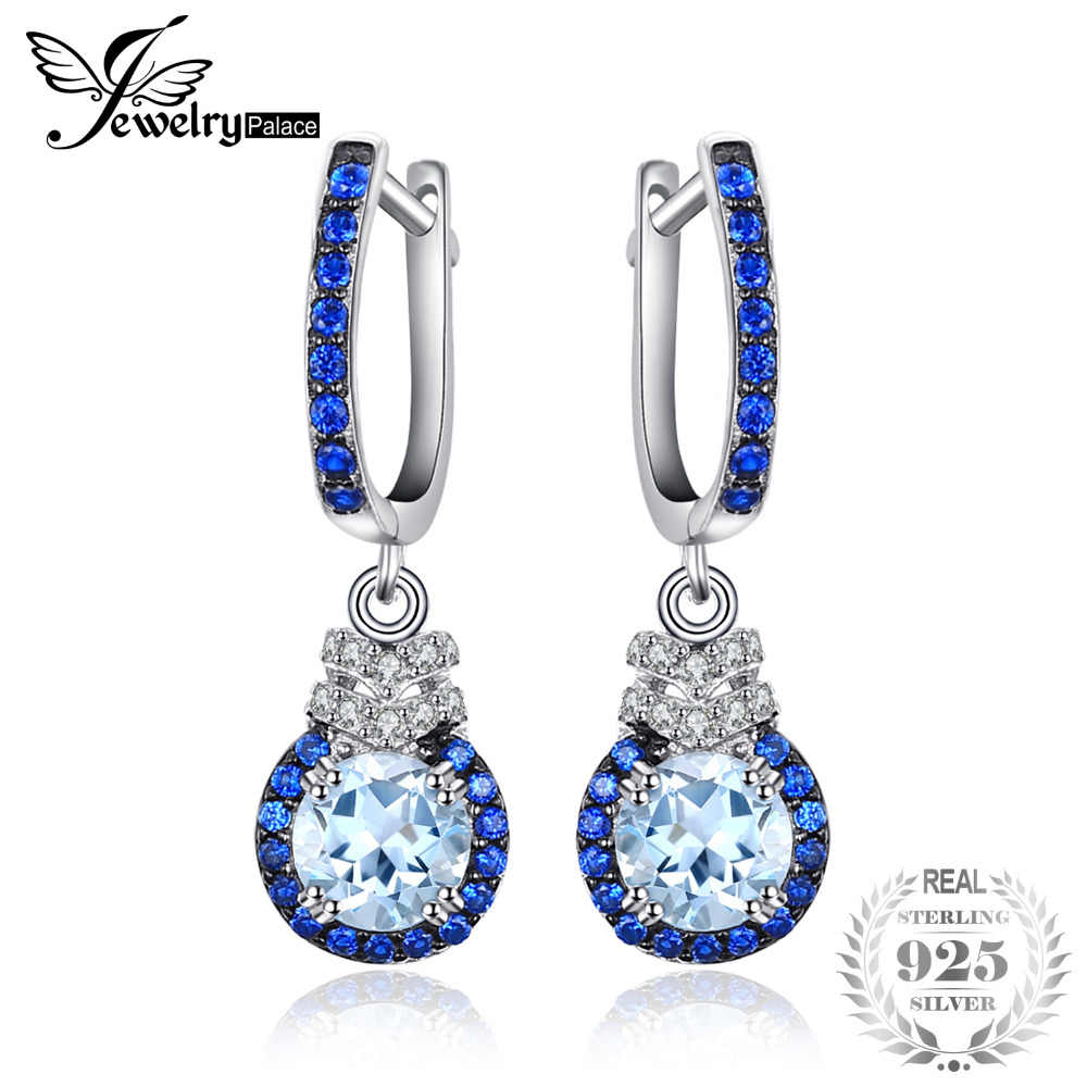 b901307e5 JewelryPalace Trendy Clip Earrings 1.6 ct Natural Sky Blue Topaz   Created  Blue Spinel 925 Sterling