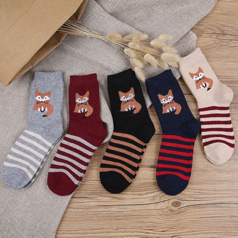 New autumn and winter ladies rabbit wool socks Wild female models cartoon fox barrel socks wholesale 305