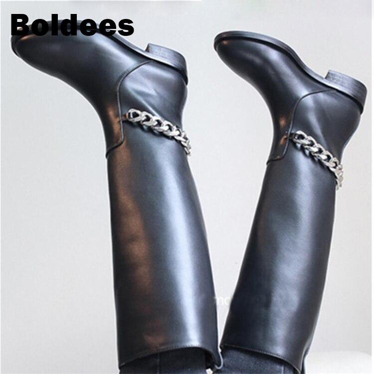 En Cuir Chaîne Mode Automne Chaussons Talons As Showed Bottes Genou Véritable À Color Haute De Argent Femmes Bas Créateur Noir nAq80x5w