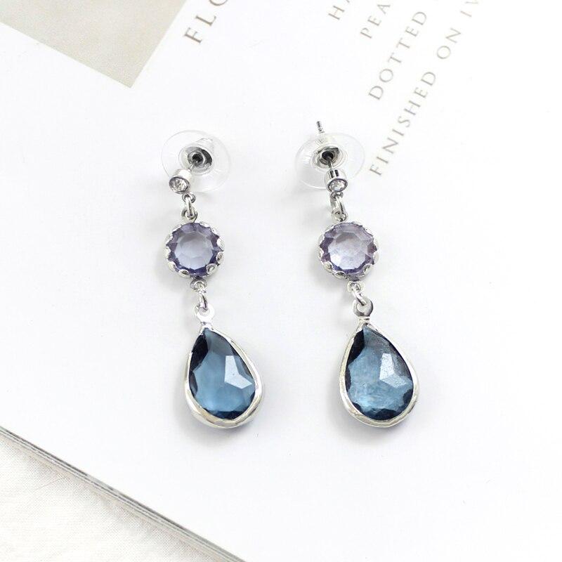 Серьги-подвески с голубыми кристаллами, Висячие прозрачные серьги Стразы, Простые Модные праздничные украшения, милые романтичные подарки