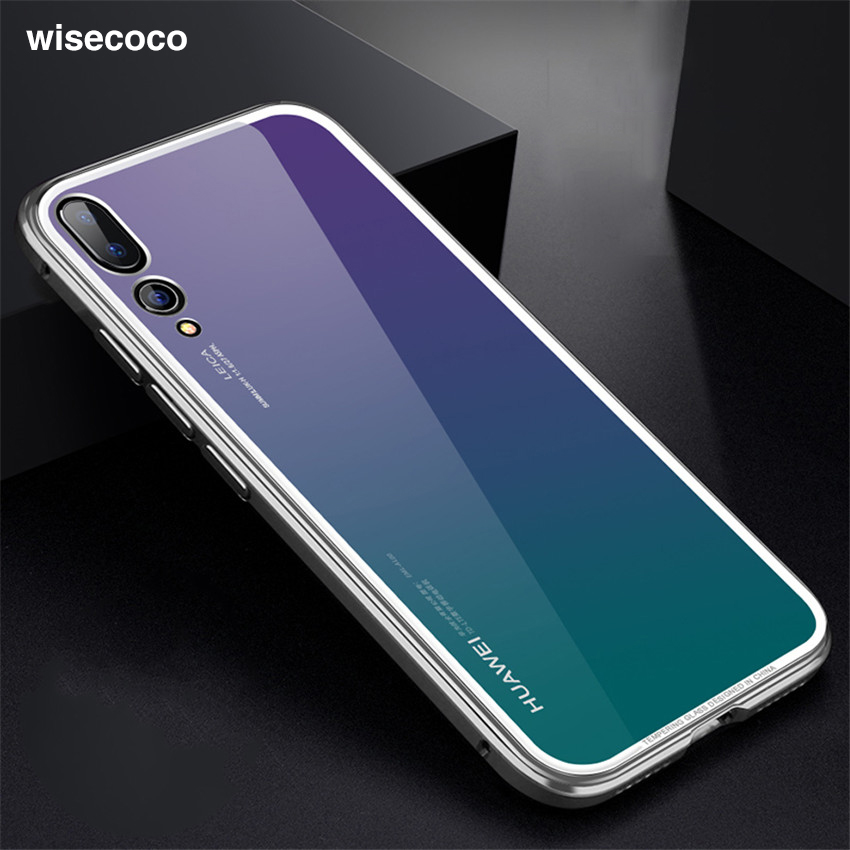 Case For Huawei P20 Pro Business Luxury Metal Bumper Clear Mirror Tempered Glass 360 Full Back Cover for huwaip20 p20 pro Cases iPhone XS