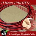 Луженая Медь 24AWG, 2-контактный красный черный кабель, 80 градусов 300 В изолированный ПВХ кабель провод 15 метров