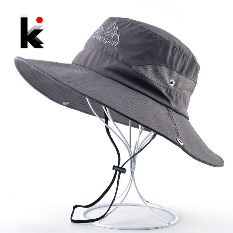 Men's Bob Sun Hat With Wide Brim Outdoor Casual Fishing Cap Breathable Mesh UV Protection Beach Gorras For Men Solid Visor Hats