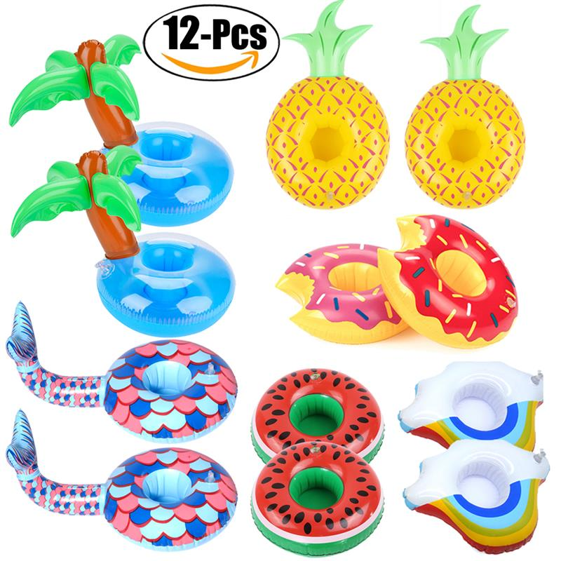 2018 New 12PCS Drink Float Inflatable PVC Cell Phone Stand Drink Holders Pool Coasters Drink Coaster for Pool Party Decoration