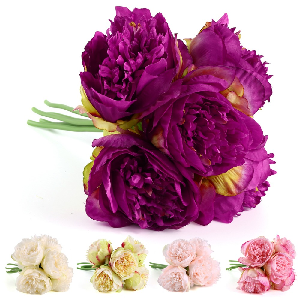 Nnew Arrival 5 Colors 1bunch European Artificial Silk Flower Fake