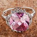 Fashion Jewelry Handmade Pink Created Topaz Gems Silver Plated Ring Size 7 8 9 10 11 12 Free Shipping Wholesale