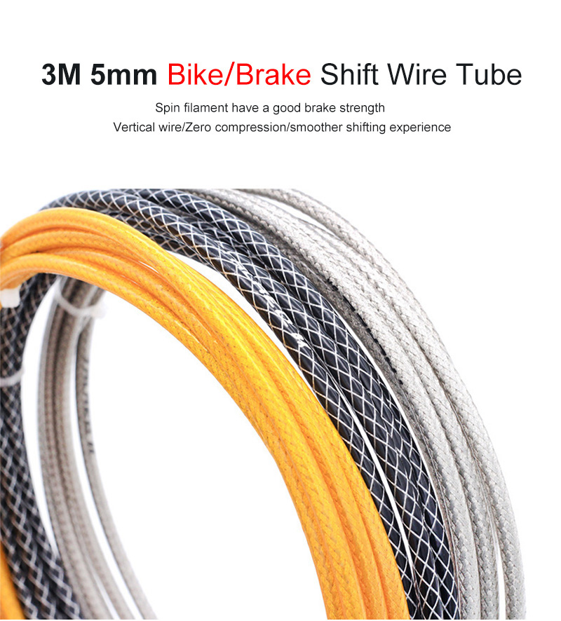 New 3M Bicycle Brake//Derailleur Cable Housing 5mm Braided Line Hose 4 Colors