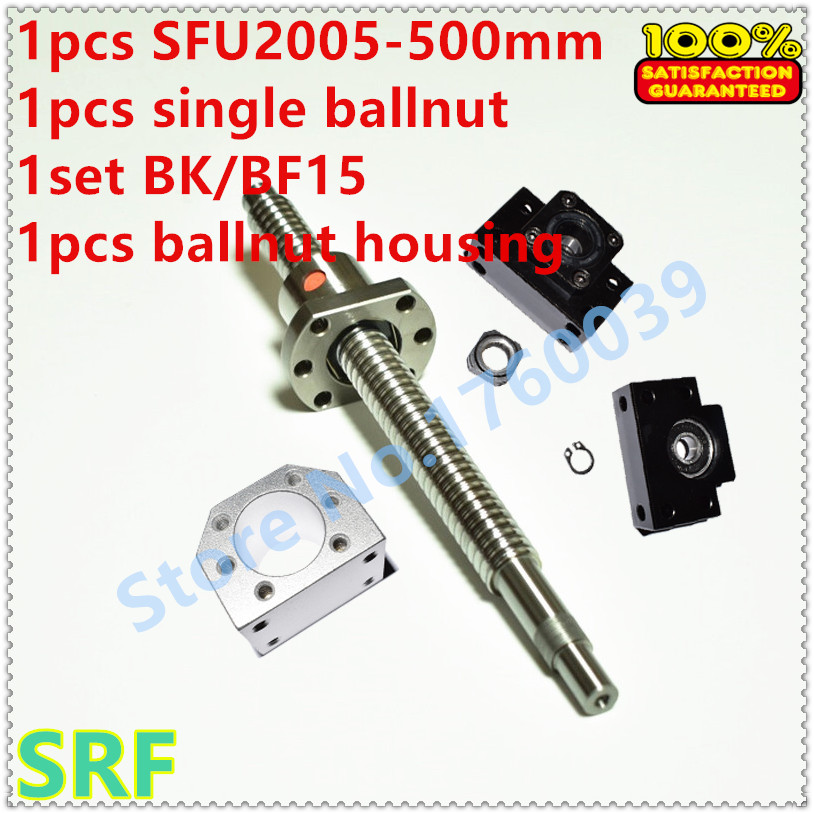 цена 20mm RM2005 Ballscrew set:1pcs SFU2005 Rolled Ball Screw L=500mm+1pcs ballnut+1pcs 2005 ballnut bracket+1set BK/BF15 support онлайн в 2017 году