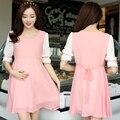 2016 летние беременные одежда для беременных платья повседневная шифон розовый голубой короткими рукавами одежды dress для беременных женщин