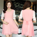 2016 summer pregnant clothing maternity dresses casual chiffon pink sky blue short sleeves clothes a dress for pregnant women