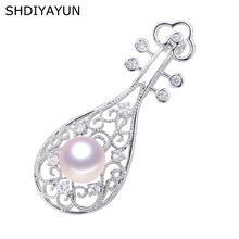 SHDIYAYUN Big Sale Pearl Brooch For Women Chinese Style Pipa Brooches Pins Natural Freshwater Fine Jewelry High Quality