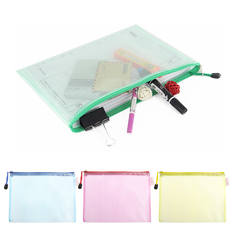 A3 Gridding Waterproof Zip Bag Document Pen Filing Products Pocket Folder Office & School Supplies Folder