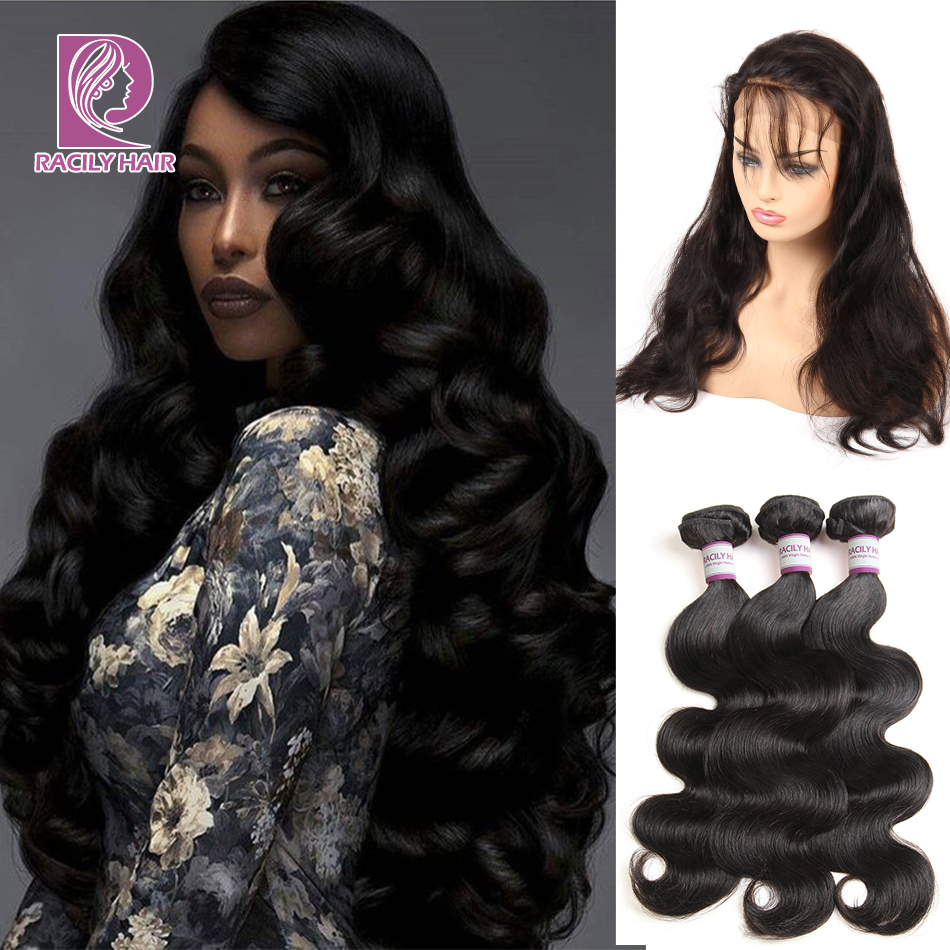 3/4 Bundles With Closure Racily Hair Peruvian Body Wave Hair Bundles With 360 Lace Frontal Human Hair 2/3 Bundles With 360 Frontal Closure Remy Extension