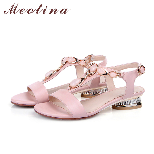 Meotina Shoes Women Sandals Open Toe T-Strap Bohemian Beach Low Heels Female Summer Shoes Crystal Sandals Pink Large Size 9 10