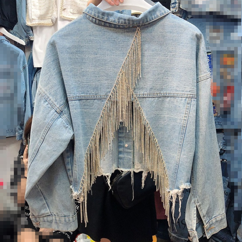 LANMREM 2020 Spring New Casual Fashion Temperament Women Coat Loose Plus Inlaid Rhinestone Tassel Back Split Denim Jacket TC753
