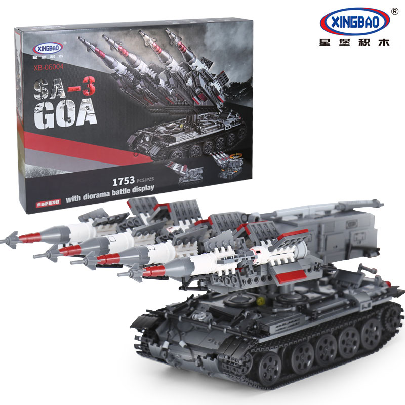 Xingbao 06004 legoing Buildings Blocks Military Toys SA-3 Missile And T55 Tank Set Vehicle Assembled Army Tank Bricks Kids Toys the new hot promotions 1 30 military vehicles dongfeng 11a missile launch vehicle model alloy office decoration