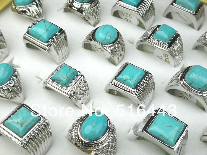 Hot Sale 20pcs Wholesale Jewelry Lots Turquoise Stones Silver Plated