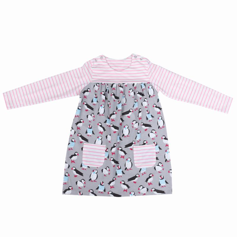 Little Girls Autumn Clothes Baby Girl Dress Penguin Print Pink Stripped Pocket Children Long Sleeve A-line Dresses for Girls little maven kids brand clothes 2017 new autumn baby girls clothes cotton bird printing girl a line pocket dress d063