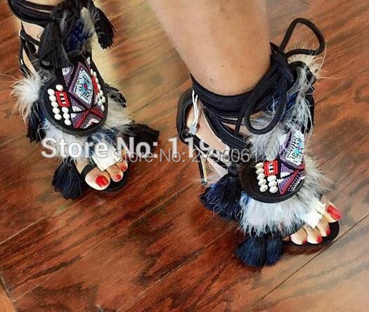 Fringed Fur Cut-outs Sandal Boots Tassel Embellished Studs Woman High Heels Shoes Lace Up Ankle Wrap Stiletto Sandals Pumps rhinestone tip up woman ankle booties cut outs summer spring high heels sandal boots shinny crystal lady stiletto pumps shoes