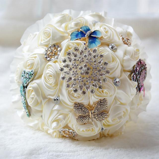 100% настоящее аватар Потрясающие Бабочка Броши Свадебный Букет С Стразы серебряный Брошь Шелковый Розы Свадебные Цветы WB010
