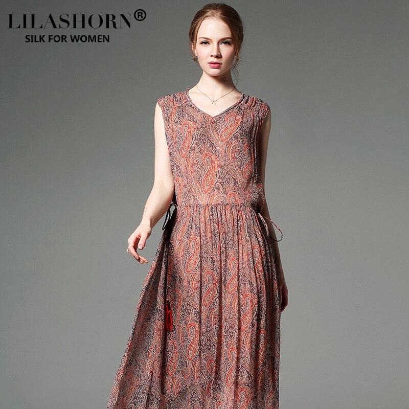 Style Femmes bleu D'été Américain V Cou Réel Robe Lilashorn Robes Luxe Orange Bohème De 2019 Pour Et Longues Soie Européen Lâche Nouvelle m0v8nONw