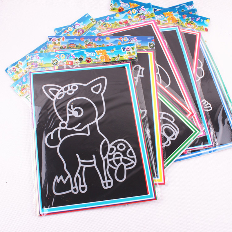 20pcs/lot 13*9.5 CM Kids Magic Scratch Art Painting Pad Card Educational Game Toys Early Learning Drawing Toy Random Type