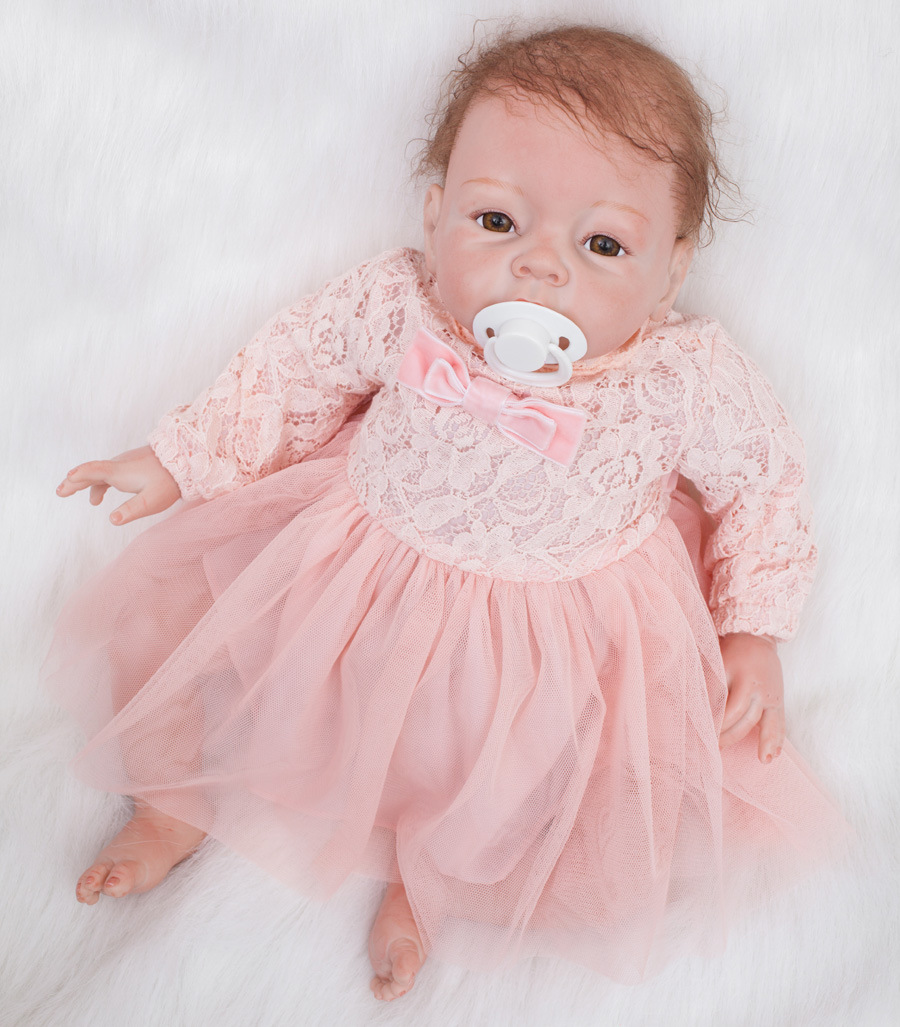 55cm/22 Handmade Silicone toddler Vinyl Realistic Reborn Baby Girl Dolls Newborn Lifelike infant Mini Baby Kids Gifts +clothes