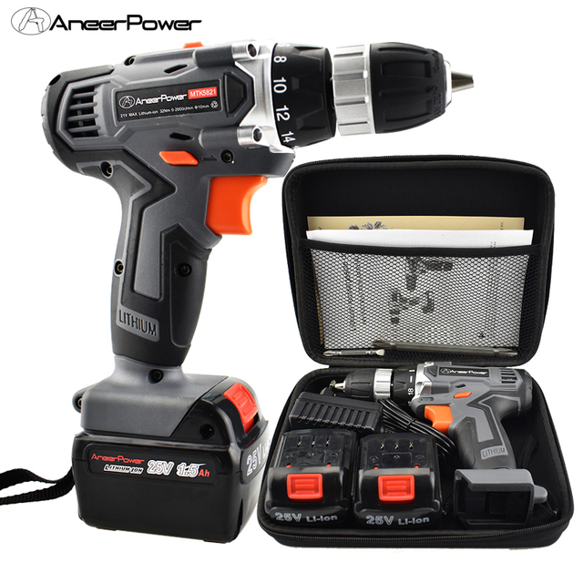 25V Cordless Screwdriver Electric Drill Tool Mini  Battery Tools Drill Power Machine Electric For Cordless Drills Set Bit Tool