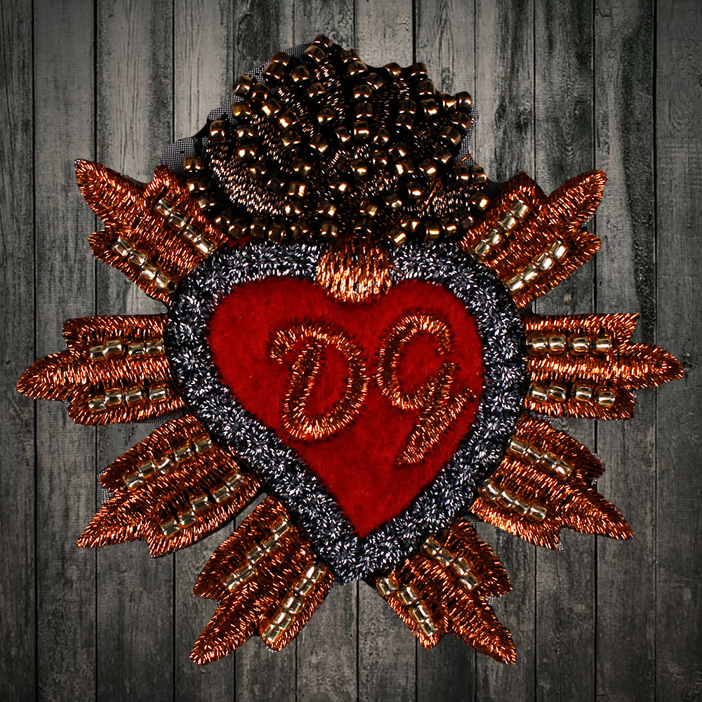 Embroidered beaded crown red hand sewing color heart
