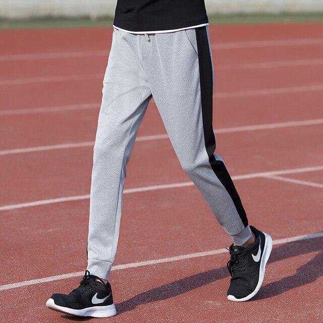 Новый 2017 моды серый и черный цвет заблокированные повседневная брюки мужчины полиэстер eastic талии тренировочные брюки одежда размер m-5xl XXK18