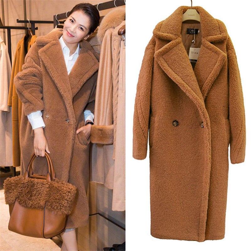 2019 새로운 패션 가짜 모피 롱 코트 여성 양고기 모피 코트 가을 겨울 여성 의류 따뜻한 파커 겉옷 n844-에서인조 퍼부터 여성 의류 의  그룹 1