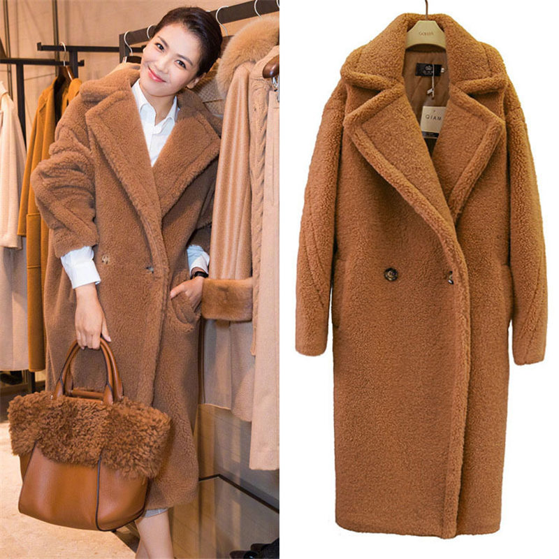 2019 New Fashion Faux Fur Long Coat Women Lamb Fur Coats Autumn Winter Women's Clothing Warm Parkas Outerwear N844