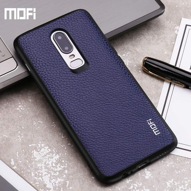 new arrival 1b5b7 e9619 US $8.71 28% OFF|Aliexpress.com : Buy Mofi Oneplus 6 case cover PU leather  one plus 6 case back cover red black blue 1+6 oneplus6 case capa coque ...