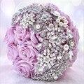 Marfil Púrpura hecho A Mano Decorativo Elegante Ramo De La Boda Artificial Flor de Rose Rhinestone de La Novia de dama de Honor Con Cristal Flor