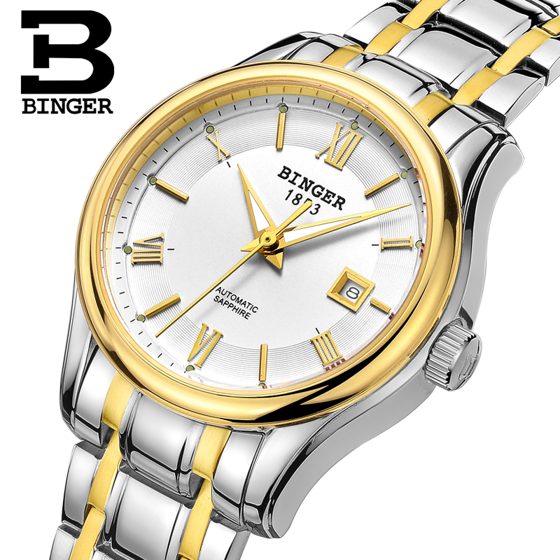 New Switzerland BINGER Women Watches Luxury Brand Mechanical Watch Women Sapphire stainless Steel montre femme Clock