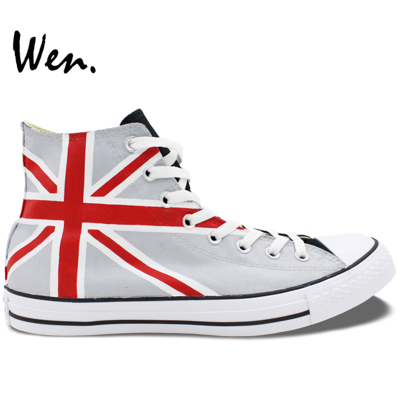 ФОТО Wen Grey Blue Hand Painted Shoes Design Custom Union Jack UK Flag Men Women's High Top Canvas Sneakers Christmas Gifts