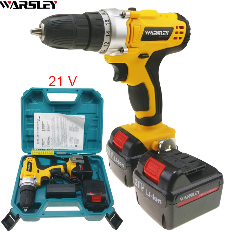 21V electric drill Cordless Drill power tools Like Handheld sans fil Electric Tools Mini Drill 2 battery The plastic box EU PLUG 220v electric drill power tools
