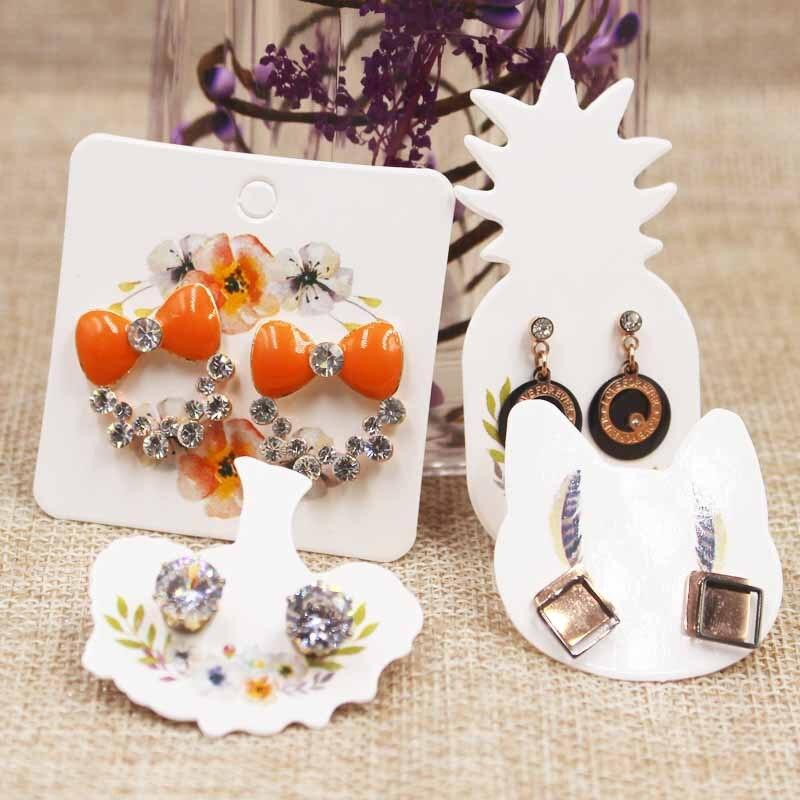 100PCS DIY White/kraft Paper Handmade Stud Earring Tag Square Shape Small Cute Earring Packing Display Tag Card