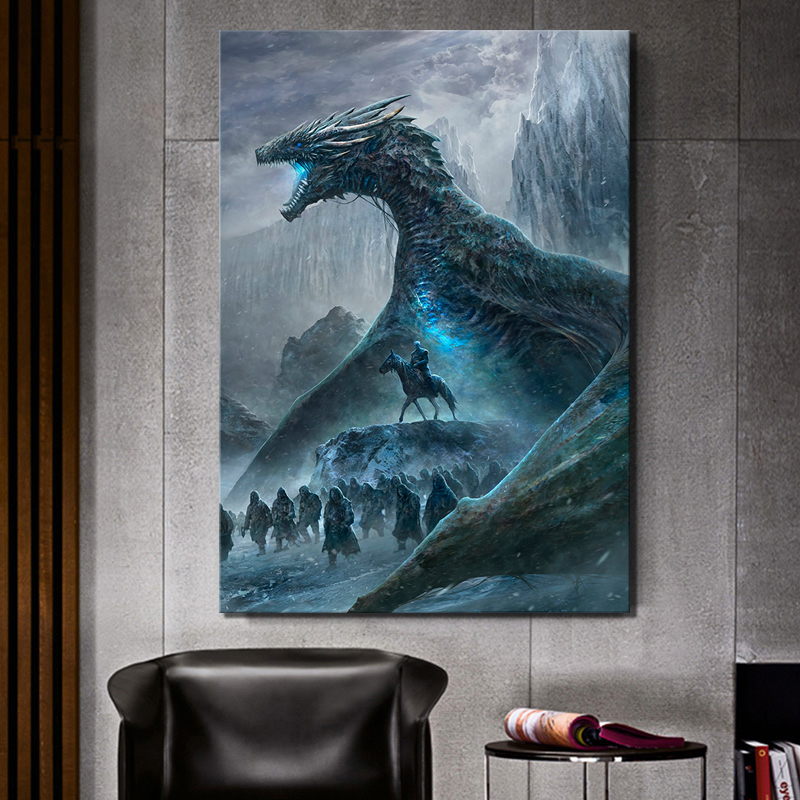 1 Piece Hd Pictures Game Thrones Movie Poster Paintings Dragon Picture Canvas Wall Art Home