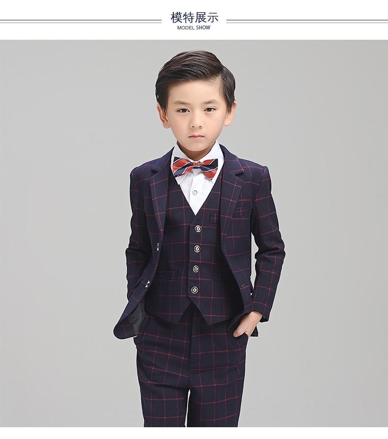 807b7c450 (Jacket+Pant+BowTie+Shirt+Vest) Boy Suits Flower girl Slim Fit Tuxedo Brand  Fashion Bridegroon Dress Wedding Stripe Suit Blazer