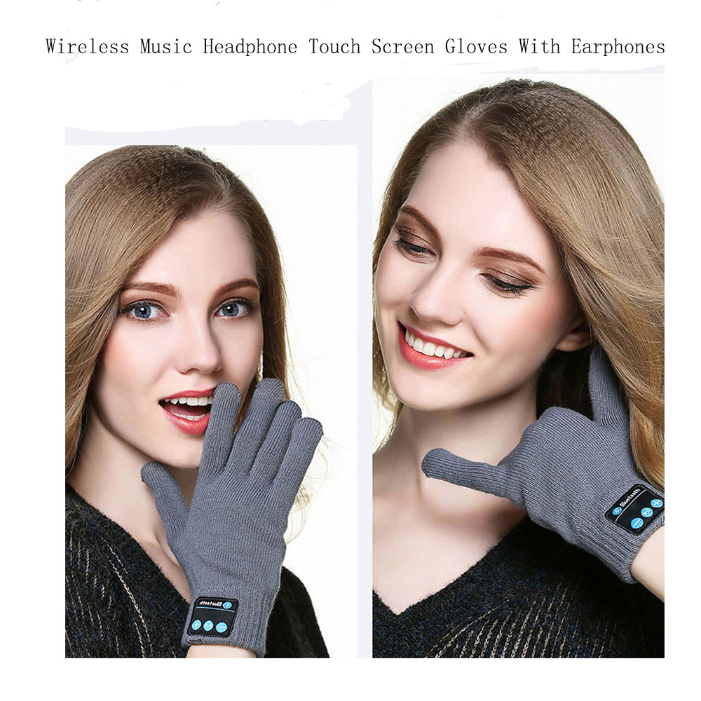 2pcs/lot Wireless Music Headphone Winter keep warm sports earphone Touch Screen Gloves With Earphones For Mobile Phone