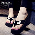 Ms. moda sandálias de cunha, De fundo grosso mulheres Casual Flip Flops deslizamento chinelos