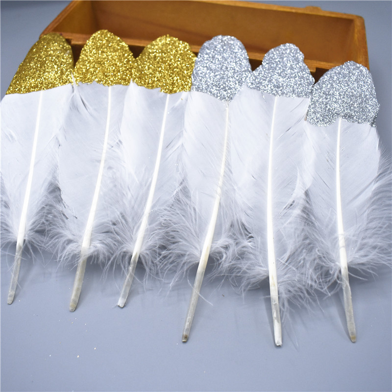 2018 Hot Sale Glitter Gold silver Dipped Natural White Duck Goose Feathers Decor Feather ...